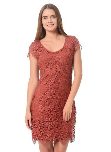 Only Only Dantel Detay Kiremit Elbise Bordo